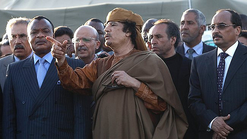 Gaddafi meeting African Union Officials